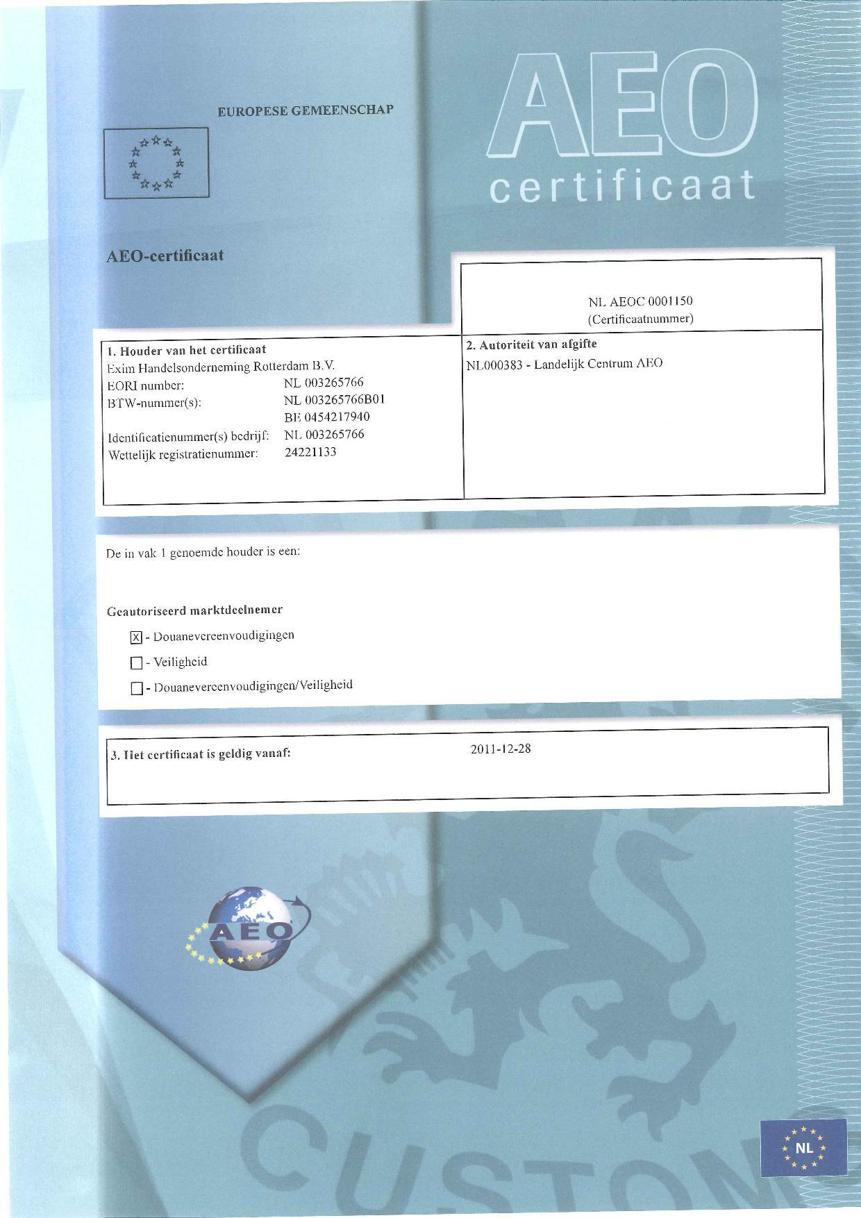 AEO-certificaat-EXIM-Handelsonderneming-Rotterdam-BV-page-001